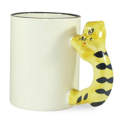 Vaikiškas termosublimacinis puodelis katino formos ąsele