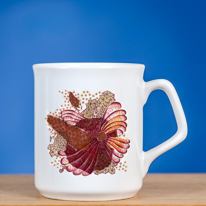 elegantiškas puodelis su piešiniu fėja IV mėlyname fone