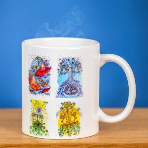 """Standartinis baltas puodelis su piešiniu """"Metų Laikai"""""""