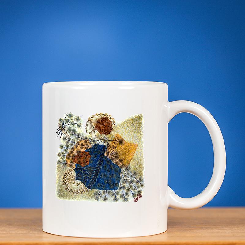 Standartinis puodelis su piešiniu FĖJA VI mėlyname fone