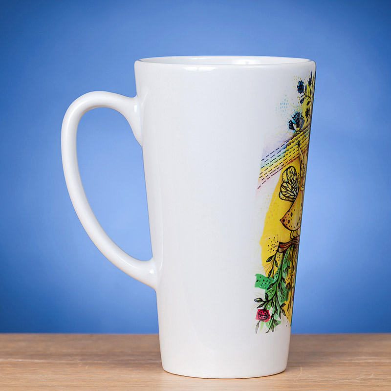 Didelis Latte puodelis su piešiniu VASARA