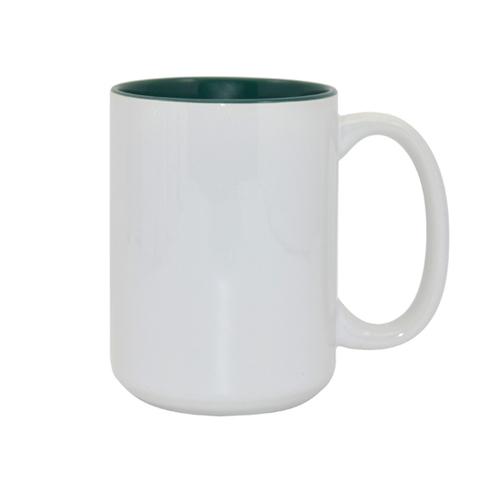 Didelis baltas puodelis žaliu vidumi