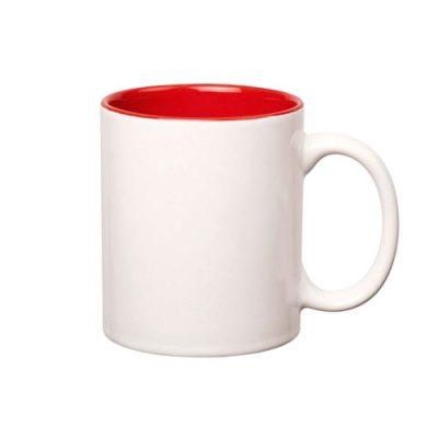 Raudonu vidumi baltas puodelis